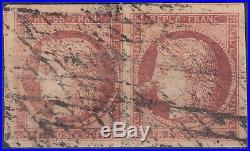1849 1850 paire Ceres 1F Carmin Foncé grille sans fin Y&T 6 cote 2400 $2,850