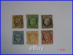 1850 Type Cérès n° 1c, 2b, 3a, 4f, 5,6b. SUPERBE. Côte Y&T 4500