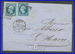 1861 Lettre 20c. Bleu-s-vert, 2 tirages différents obl. D Paris. X1079