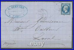 1866 Lettre 20c. N°14 Obl. Par L'ETOILE CHIFFREE 24, R. De Cléry très rare X1082