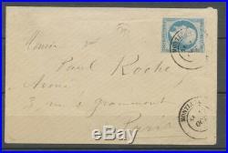 1880 Env N°14 obl. PAR LE CAD 17(RRR), Monthuel(1) TRES TARDIF X1084