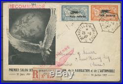 1927 Lettre Recommandé PA n° 1 et 2 obl. Marseille/Aviation, Superbe X4542