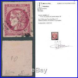 49c obl rose carminé certificat brun ref FA129