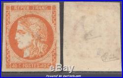 4' pseudo retouché sur 40c Bordeaux+certificat CALVES (Y&T N°48l, cote +2000)
