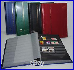 5 Albums timbres Classeurs LEUCHTTURM 64 Pages noires 5000 Timbres(réf BASIC)