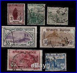 7 Hommages aux ORPHELINS, Oblitérés = Cote 1010 / Lot Timbres France 148 à 154