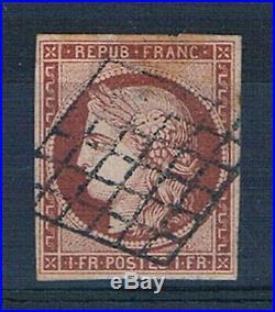 A0599 TIMBRE DE FRANCE N° 6 Oblitéré Cote 1000 Signé Hartmann
