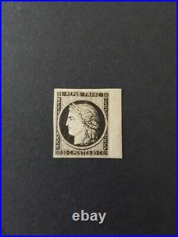 À VOS OFFRES! 148 CERES timbre n°3a noir sur blanc bord de feuille signé 2
