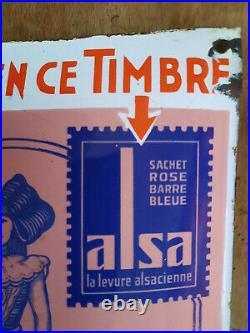 Ancienne plaque émaillée ALSA LEVURE ALSACIENNE Exigez bien ce timbre émail EAS