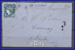 BORDEAUX N°46 20c bleu Fx de MARSEILLE Sur lettre RARISSIME P2473