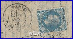 Ballon monté Le Franklin oblitéré 1/DEC. /1870 pour Roubaix Certificat