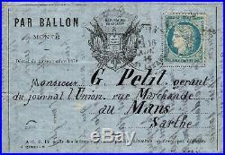 Ballon monté n°30 Gl Uhrich lettre formule aux drapeaux du 16 11 1870 arrivée 26