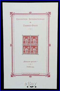 Bloc-Feuillet n°1 EXPOSITION PHILATÉLIQUE PARIS 1925 (2 Certificats dont Calves)