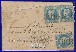 Boule de Moulins oblitérée GC 4033 Trouville-sur-Mer 30/DEC. /1870 pour Paris