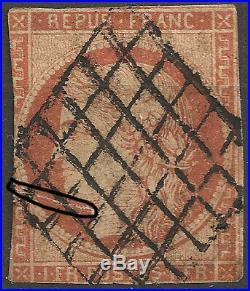 CERES 1849 N°7 vermillon terne, certificat Calves, rare