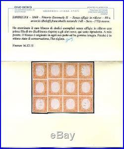 C. 80 Arancio Senza Effige Blocco DI 12 Nuovo Mnh Bolaffi Franc Naturale 14b