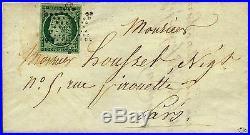 Cérès non dentelé n°2 15 centimes vert foncé/très foncé sur lettre