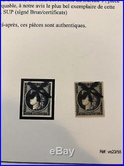 Ceres 1849 N3 20 cts Noir Obliteré Rosette du bureau J