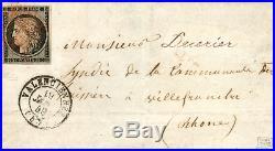 Cérès 20 c noir n°3 oblitéré grille rouge sur lettre du 19 janvier 1849