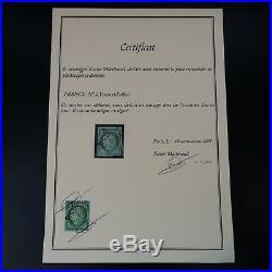Cérès N°2 Signé Deux Fois Dont Calves + Certificat Oblitéré Étoile Cote 1050