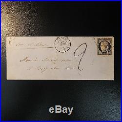 Cérès N°3 Lettre Cover Grille De 1849 + Plume De Paris Pour Rosoy En Brie Taxe 2