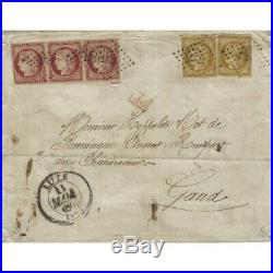 Cérès N°6 bande de 3 et N°1 X 2 oblitérés sur lettre de Lille pour Gand, TB. RR
