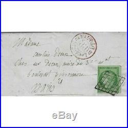 Cérès non dentelé N°2 oblitéré grille et PP Rouge sur lettre de Paris 1850, TB