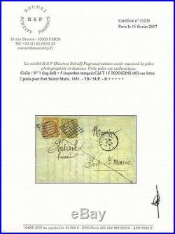 Cérès, timbres de France N°1 et N°5 oblitérés grille sur lettre 2 ports de 1851