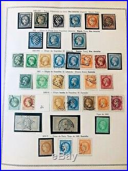 Collection timbres France 1849-1980 dt classiques n°5,6,33,44,242A, caisses, +++