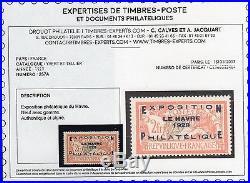 E608. FRANCE(027)1927 TTB N°257A N signé +certif. (Scans recto verso) cote 875