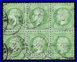 EXCEPTIONNEL BLOC de 6 NAPOLEON N°35 5c Vert / Bleu Pâle CàD 1872 cote + 1500 eu
