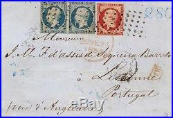 Empire N°18 + N°10 paire oblitéré grois point sur pli de Paris pour Portugal. RR