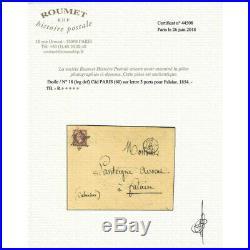 Empire non dentelé 1 franc carmin oblitéré étoile sur lettre pour Falaise 1854