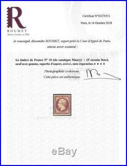 Empire non dentelé 1 franc carmin timbre de France N°18a neuf TB. RR