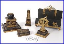 Ensemble bureau Empire bronze encrier porte-lettres boîte timbres cygne 19è