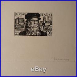 Épreuve D'artiste N°929 Leonard De Vinci Signé Decaris Timbre Non Dentelé Imperf