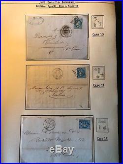 Étude Report Complet Bordeaux 20c Bleu n°46B Type III R. 2 sur Lettres toutes TB