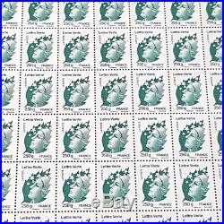FEUILLE DE 100 TIMBRES No4596 MARIANNE DE BEAUJARD (2011) LETTRE VERTE 250G