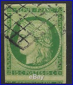 FRANCE 1ère EMISSION CERES 15c VERT N° 2 OBLITERATION GRILLE COTE 1050