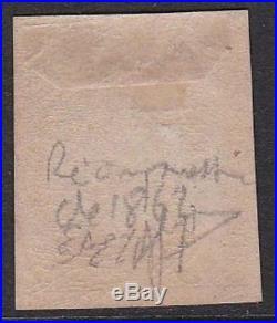 FRANCE N°3f réimpression 1862 neuf X et superbe. Certificat Calves 500 B229