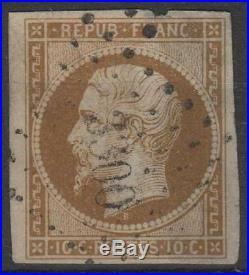 FRANCE N° 9 LOUIS-NAPOLEON 10c BISTRE 1852 OBLITERE A VOIR M047