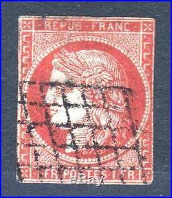 France Stamp Timbre 7 Ceres 1 Franc Vermillon Oblitere Qualite St Signe M690