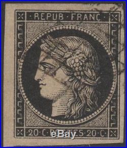 FRANCE STAMP TIMBRE N° 3 b CERES 20c NOIR SUR CHAMOIS OBLITERE TTB K304