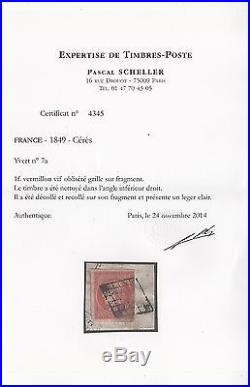 FRANCE STAMP TIMBRE N° 7 a CERES 1 FRANC VERMILLON VIF 1849 OBLITERE A VOIR