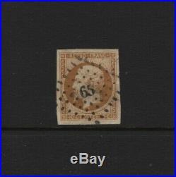 FRANCE STAMP TIMBRE N° 9 LOUIS-NAPOLEON 10c BISTRE 1852 OBLITERE A VOIR T799