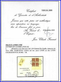 FRANCE Timbre de Guerre Faux Résistance Maury n° 1 Bloc de 4 sur lettre