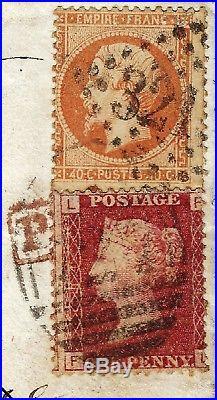France 1868 n°23 empire 40 c Grande Bretagne 1 penny red sur lettre réexpédiée
