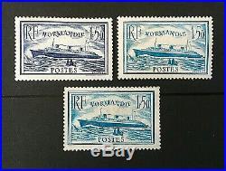 France 1935 Le Normandie N°s 299 300 300b Signé Neufs Sans Charnière