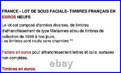 France Lot De Sous Faciale 200 Euros De Timbres Francais En Euros Neufs