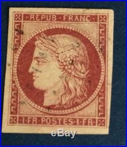 France N° 6 a 1 F Carmin Clair Obli Légère TTB Qualité Signe Calves Cote1200